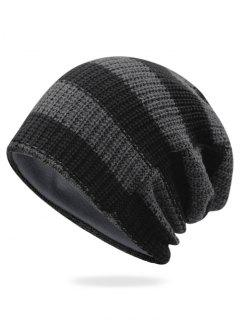 Striped Pattern Decorated Crochet Knitting Thicken Beanie - Dark Gray