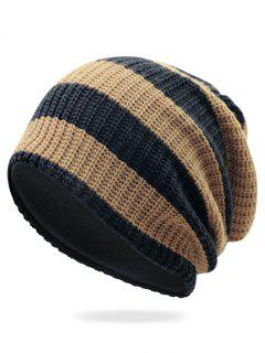 Striped Pattern Decorated Crochet Knitting Thicken Beanie - Khaki