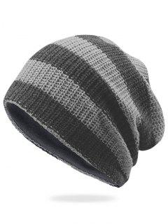 Striped Pattern Decorated Crochet Knitting Thicken Beanie - Light Grey