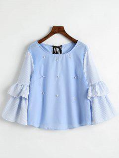Tiered Flare Sleeve Striped Beading Blouse - Cloudy L