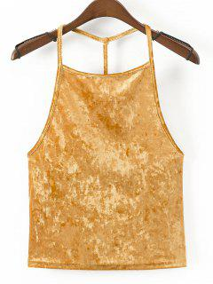 Strappy Velvet Open Back Tank Top - Yellow L