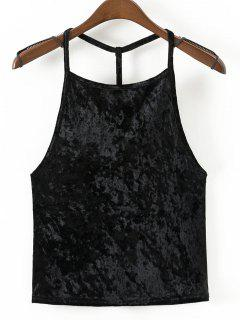 Strappy Velvet Open Back Tank Top - Black M