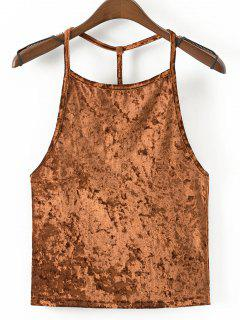 Strappy Velvet Open Back Tank Top - Sugar Honey L