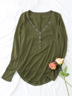 Knitted Half Buttoned Top - Army Green M