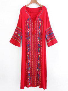 Robe Longue Brodée à Glands à Manches Longues - Rouge