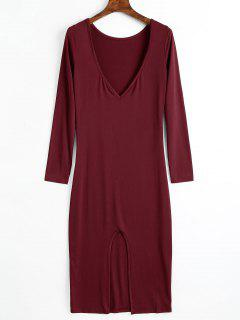 Backless Cut Out Long Sleeve Dress - Wine Red M