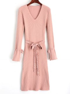 Side Slit Lace Belted Sweater Dress - Pink