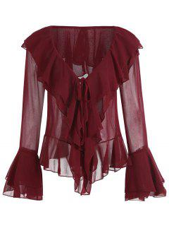 Tiered Flare Sleeve Ruffles Plunge Blouse - Wine Red S