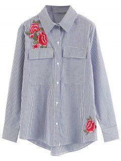 Flap Pocket Stripes Floral Besticktes Shirt - Streifen  L