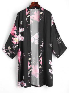Blusa De Kimono Frente Abierto Floral - Negro