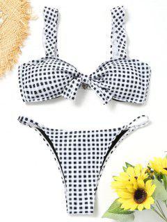 Knotted Plaid Thong Bikini Set - White And Black S