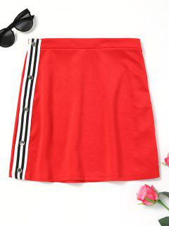 Side Button Up Letter Skirt - Red S