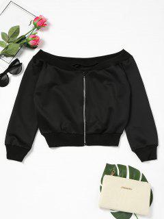 Off Shoulder Zip Up Crop Sweatshirt - Black L