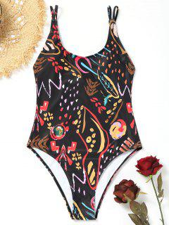 One Piece Printed High Cut Swimsuit - Black M