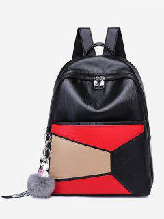 Color Block Geometric Pompom Backpack - Red