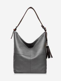 Top Zipper Tassels Shoulder Bag - Gray