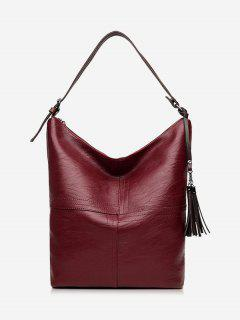 Top Zipper Tassels Shoulder Bag - Wine Red