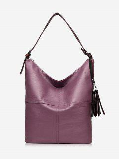 Top Zipper Tassels Shoulder Bag - Purple