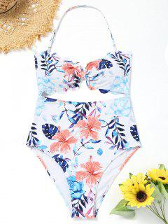 High Leg Floral Cut Out Swimsuit - White S