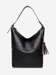 Top Zipper Tassels Shoulder Bag - Black