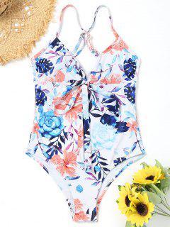 One Piece Floral Hohes Bein Gebunden Badeanzug - Weiß S