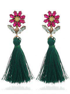 Boho Rhinestone Flower Fringed Drop Earrings - Green