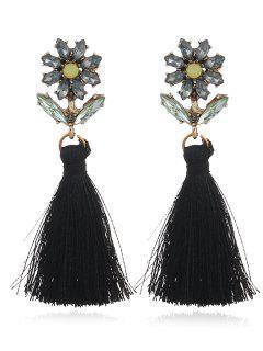 Boho Rhinestone Flower Fringed Drop Earrings - Black