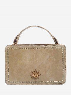Metal Embellished Mini Crossbody Bag - Beige