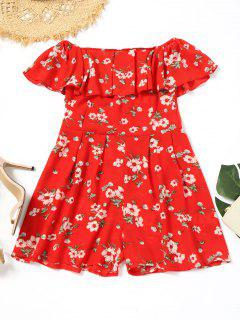 Off Shoulder Flounce Floral Print Romper - Red M