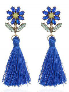 Boho Rhinestone Flower Fringed Drop Earrings - Blue