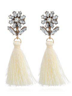 Boho Rhinestone Flower Fringed Drop Earrings - White