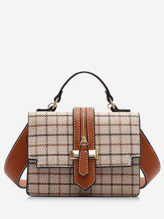 Plaid Tweed Mini Crossbody Bag - Beige