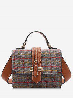 Plaid Tweed Mini Crossbody Bag - Gray