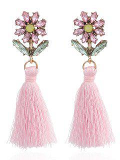 Boho Rhinestone Flower Flecos Pendientes - Rosa
