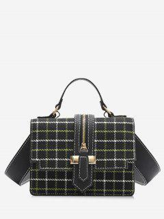 Plaid Tweed Mini Crossbody Bag - Black
