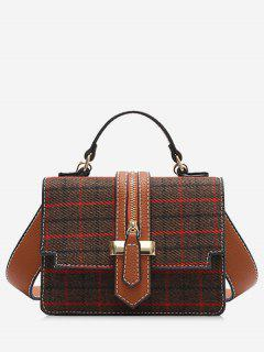 Plaid Tweed Mini Crossbody Bag - Coffee