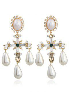 Libra Faux Pearl Decorated Drop Earrings - White