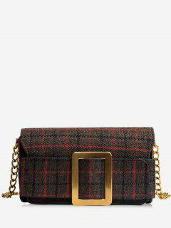 Plaid Buckle Strap Chain Crossbody Bag - Cappuccino