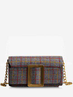 Plaid Buckle Strap Chain Crossbody Bag - Gray