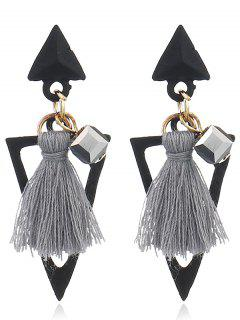 Double Triangle Decorated Fringed Drop Earrings - Gray