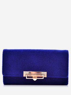 Metal Embellished Tri Fold Wallet - Blue