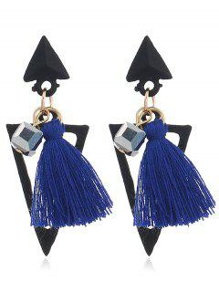 Double Triangle Decorated Fringed Drop Earrings - Blue
