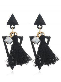 Double Triangle Decorated Fringed Drop Earrings - Black