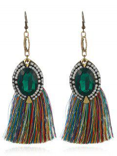 Faux Diamond Inlay Thread Tassel Drop Earrings - Green
