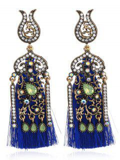 Bohemian Style Rhinestone Fringed Drop Earrings - Blue