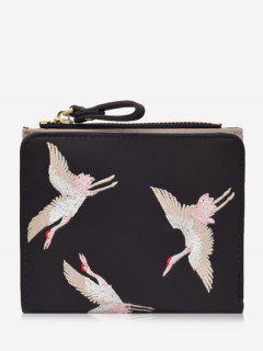 Bi Fold Birds Embroidery Wallet - Black