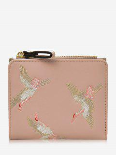 Bi Fold Birds Embroidery Wallet - Pink