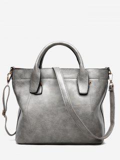 PU Leather Double Handle Stitching Handbag - Gray