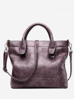 PU Leather Double Handle Stitching Handbag - Purple