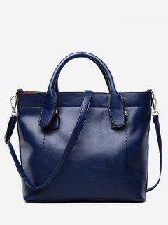 PU Leather Double Handle Stitching Handbag - Blue